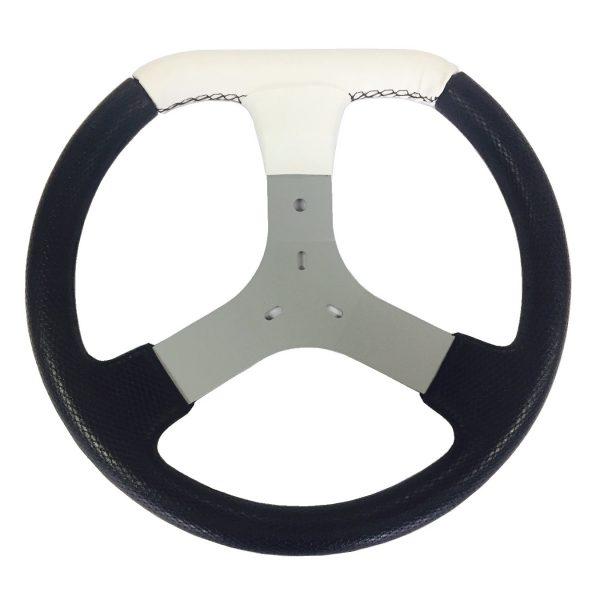 Volante de Kart Universal em detalhe Corino Branco 320mm