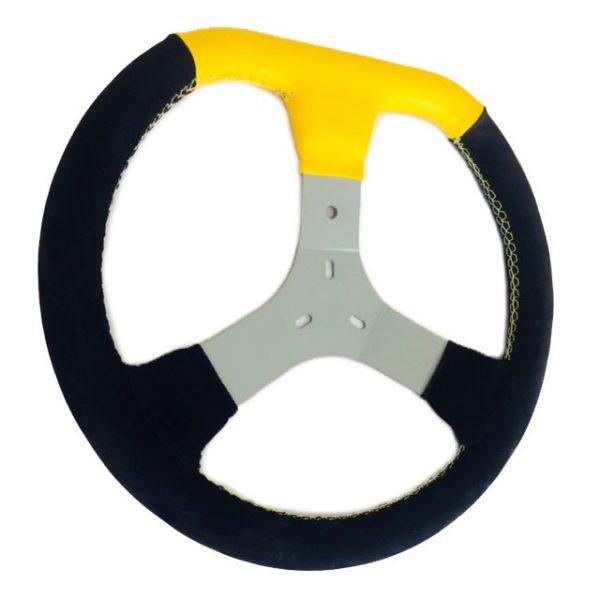 Volante de Kart Universal Camurça preta Detalhe Amarelo 349mm