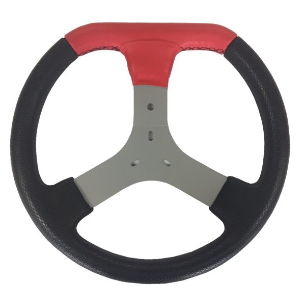 Volante de Kart Universal em PU Detalhe Corino Vermelho Costurado com Chapa Silver 349mm de Diâmetro