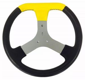 Volante de Kart Universal em Corino Amarelo 320mm de Diâmetro